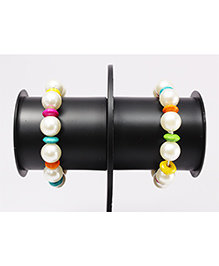 Pihoo Bracelet Cum Anklet Pair - Off White & Multicolor