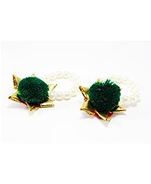 Pihoo Bracelet Cum Anklet Pair Pom Pom Applique - Pink - 1680377