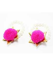Pihoo Bracelet Cum Anklet Pair Pom Pom Applique - Pink - 1680379