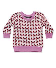 Kadambaby Full Sleeves Sweatshirt Heart Print - Pink