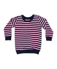 Kadambaby Full Sleeves Sweatshirt Stripes Pattern - Pink