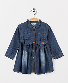 OB Baoney Collar Neck Denim Dress - Blue