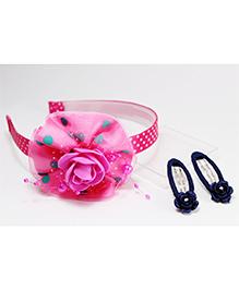 Milyra Hair Band And Snap Clip Set - Pink Navy Blue