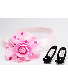 Milyra Hair Band And Snap Clip Set - Pink Black