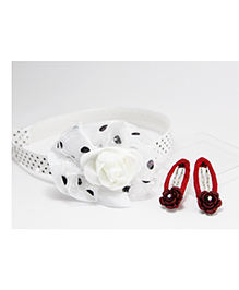 Milyra Rose Applique Hair Band And Snap Clip Set - White Red