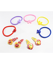 Milyra Rubber Band And Hair Clips Set - Multi Colour