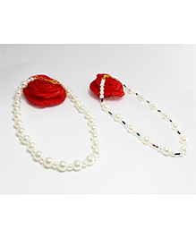 Milyra Rose Applique Pearl Necklace Combo Of 2 - Red White