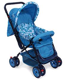 Mee Mee Baby Pram Cum Stroller With Reversible Handle Printed - Blue