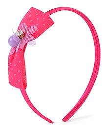 Stol'n Hair Band Dotted Bow Design - Fuchsia