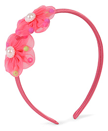 Stol'n Hair Band With Pearl Design Floral Applique - Dark Pink