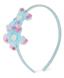 Stol'n Hair Band With Pearl Design Floral Applique - Light Blue