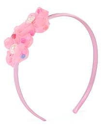 Stol'n Hair Band With Pearl Design Floral Applique - Pink