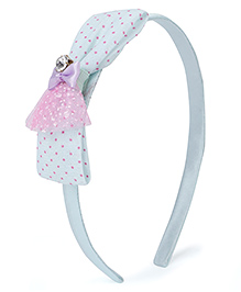 Stol'n Hair Band With Rhinestone Studded Bow Applique - Blue