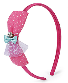 Stol'n Hair Band With Rhinestone Studded Bow Applique - Pink