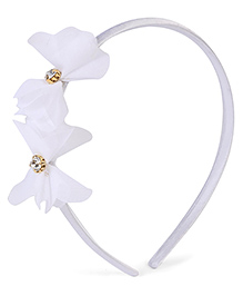 Stol'n Hair Band Floral Applique - White