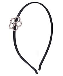 Stol'n Hair Band Studded Flower Applique - Black