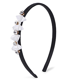 Stol'n Hair Band Rhinestone Bow Appliques - White Black