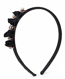 Stol'n Hair Band Rhinestone Bow Appliques - Black