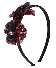 Stol'n Hair Band Studded Bow Appliques - Maroon Black