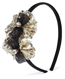 Stol'n Hair Band Studded Bow Appliques - Golden Black