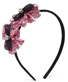Stol'n Hair Band Studded Bow Appliques - Pink Black