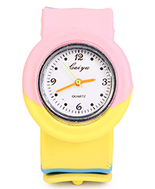 Analog Wrist Watch Round Dial - Pink Yellow Blue