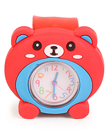 Analog Wrist Watch Bear Face Dial - Red Blue
