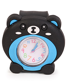 Analog Wrist Watch Bear Face Dial - Black Blue