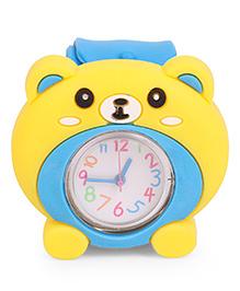 Analog Wrist Watch Bear Face Dial - Yellow & Blue