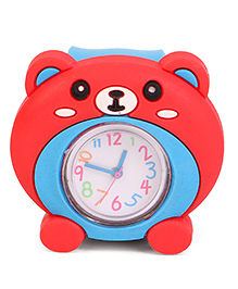 Analog Wrist Watch Bear Face Dial - Red & Blue
