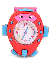 Analog Wrist Watch Fish Shape Dial - Red & Pink