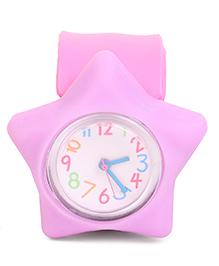 Analog Wrist Watch Star Shape Dial - Pink & Purple