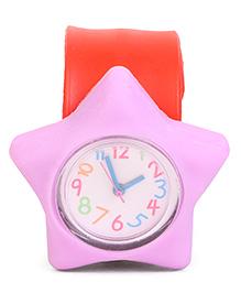 Analog Wrist Watch Star Shape Dial - Red & Purple