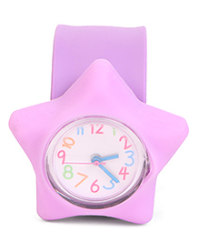 Analog Wrist Watch Star Shape Dial - Purple