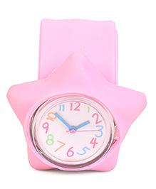 Analog Wrist Watch Star Shape Dial - Light Pink