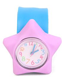 Analog Wrist Watch Star Shape Dial - Blue & Purple