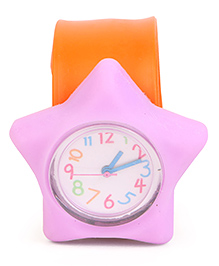 Analog Wrist Watch Star Shape Dial - Orange & Purple