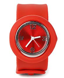 Analog Wrist Watch Circle Shape Dial - Dark Red