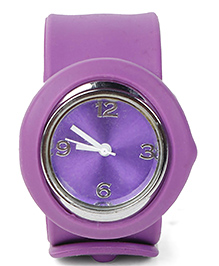 Analog Wrist Watch Circle Shape Dial - Lavender
