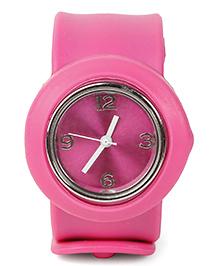 Analog Wrist Watch Circle Shape Dial - Dark Pink
