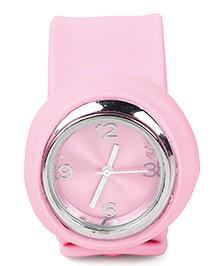 Analog Wrist Watch Circle Shape Dial - Light Pink