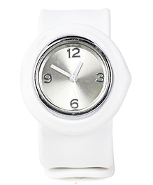 Analog Wrist Watch Circle Shape Dial - White