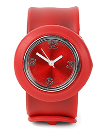 Analog Wrist Watch Circle Shape Dial - Red