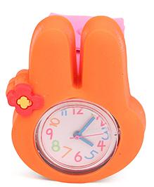 Analog Wrist Watch Rabbit Shape Dial - Orange Pink