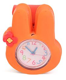 Analog Wrist Watch Rabbit Shape Dial - Orange Red