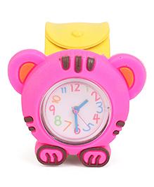 Analog Wrist Watch Tiger Shape Dial - Yellow Pink