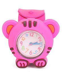 Analog Wrist Watch Tiger Shape Dial - Pink