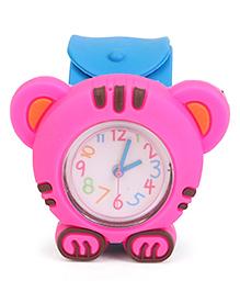 Analog Wrist Watch Tiger Shape Dial - Blue Pink
