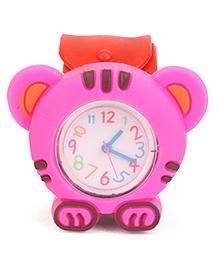 Analog Wrist Watch Tiger Shape Dial - Red Pink