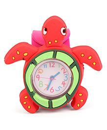 Analog Wrist Watch Tortoise Shape Dial - Red Pink